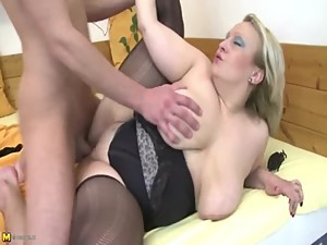 Mom With Huge Saggy Tits Fucks Stepson -..
