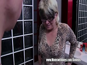 Grey Haired Stepmom Fucks Her Bathroom..
