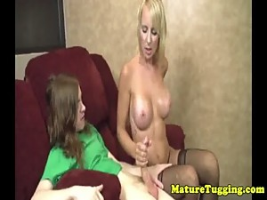 Busty stepmom jerkingoff her young stepson