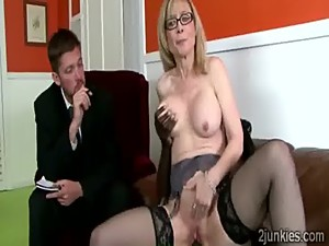 Big stacked blonde MILF helps queer son..