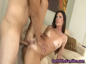 Step mom sucking her steps sons cock