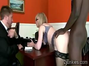 Mature blondie helps her worthless son..