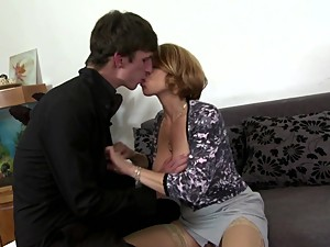 Sexy busty mom suck and fuck not her son