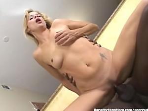Horny MILF Rides Stepson's Big Black Cock