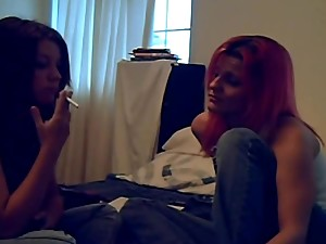 Mother daughter smoking lesson
